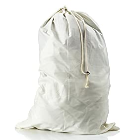 LoopsLiving Extra Large Cotton Laundry Bag with Grommets and Drawstring Closure