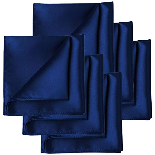 KissTies 6 PCS Navy Blue Satin Pocket Square Solid Color Hankies Gift Set by KissTies