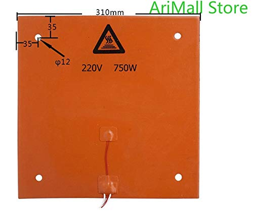 KIMME 1pcs 3D Printer Accessories 310310mm 220V 750W Silicone Rubber Heated Bed CR-10 Silicone Heating pad
