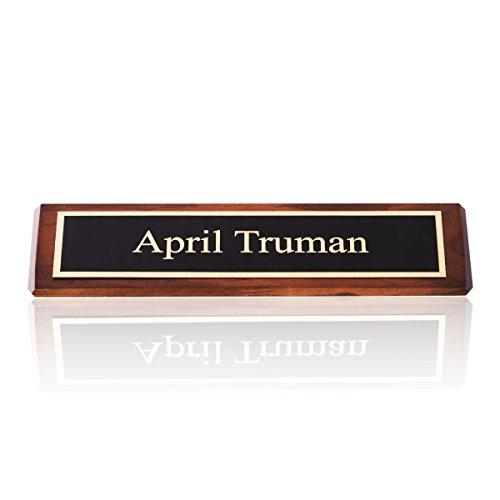 Personalized Desk Name Plate Genuine Walnut Wood, 2 x 8 | Naag Tag Inc.