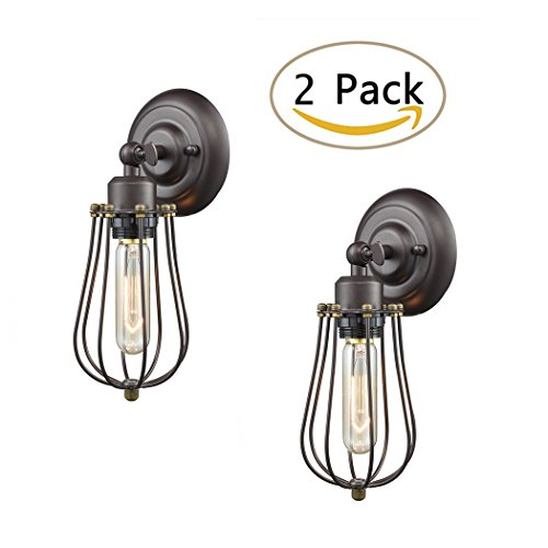 Ecopower Light Wire Cage Wall Sconce 2 Pack CLAXY Industrial Oil Rubbed Bronze Bulb Wall Light - 2 Light Sconce Lighting