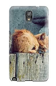 Faddish Phone Gray And Brown Cats On An Wooden Fence Case For Galaxy Note 3 / Perfect Case Cover