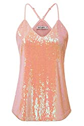 Mermaid Pink Sequin Sleeveless Camisole Tank Top