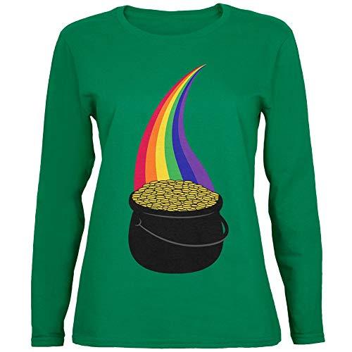 Pot Of Gold Halloween Costume (Halloween Pot of Gold Rainbow Costume Womens Long Sleeve T Shirt Green)