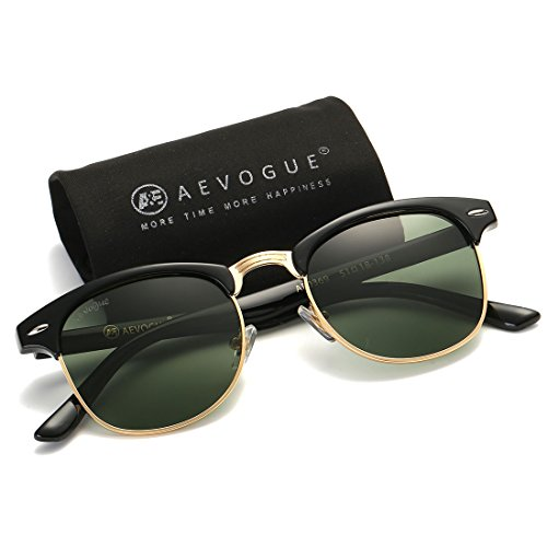AEVOGUE Polarized Sunglasses Semi-Rimless Frame Brand Designer Classic AE0369 (Black&G15, 48)