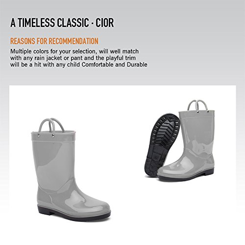 CIOR Boys & Girls Rain Boots Durable Kids Waterproof Shoes Assorted Colors With Handles Easy On (Toddler/ Little Kids),Grey,28