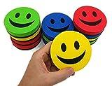 KIBOO 12-Pack Smile Face 3.75'' Magnetic White Board Dry Felt Eraser Set for Teachers Kids School Classroom - Home Office Whiteboard Refrigerator Fridge
