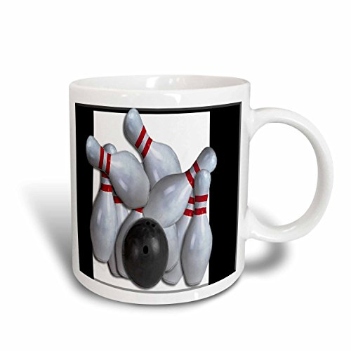 3dRose Bowling Ball and Pins Ceramic Mug, 11-Ounce