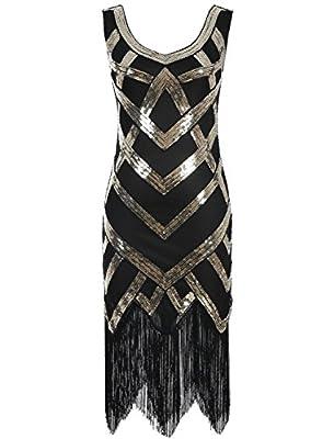 Emust Women's 1920s Beaded Sequin Crisscross Fringe Gatsby Flapper Dress