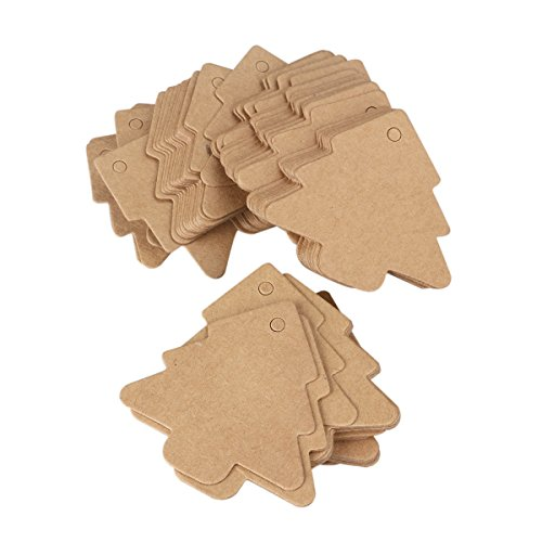 UEETEK 100pcs Cardboard Tree Gift Kraft Label Tags with 20M Rope for Christmas Birthday Party Decor(Brown)