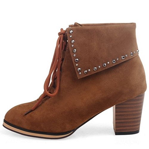 Booties Brown Block Up Retro Lace Winter Heel KemeKiss Women Ankle High W0AqOvB