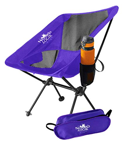 Nomad Logik Purple Lightweight Camping Chairs Lightweight, Hiking Chair Backpacking Chairs Folding with Cup Holder for Camping, Beach, Hiking, Trail, Picnic, Tailgating, Adults, Kids, Women