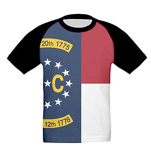 Kids North Carolina Flag US State Baseball Raglan Short Sleeves T Shirt Sports Crew Uniforms Slim Fit Carolina State Drape