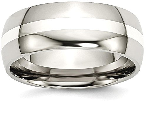 ICE CARATS Titanium 925 Sterling Silver Inlay 8mm Wedding Ring Band Size 13.00 Precious Metal Fine Jewelry Gift Set For Women Heart Fine Mens Ring