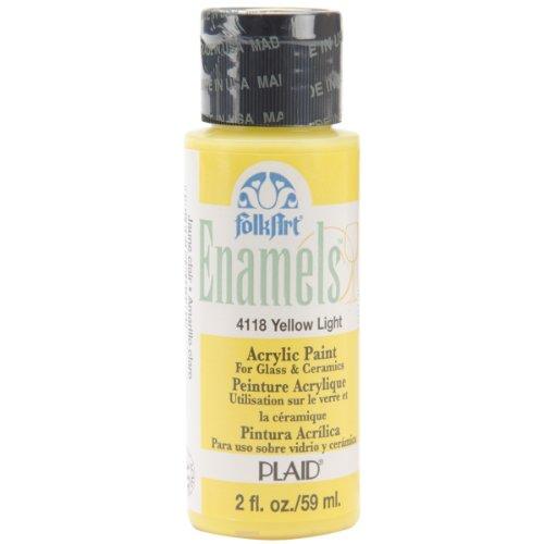 FolkArt Enamel Glass & Ceramic Paint in Assorted Colors (2 oz), 4118, Yellow Light
