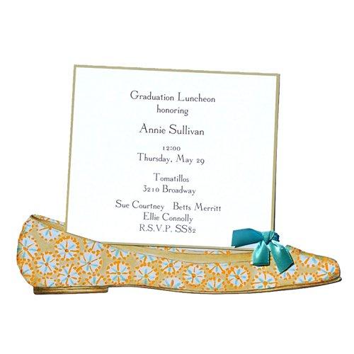 (Blue and Orange Ballerina Flat Shoe Die-cut Card, Pack of 10 )