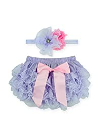 Anbaby Baby Girl's Bloomers Lace Diaper Covers + Headband Set