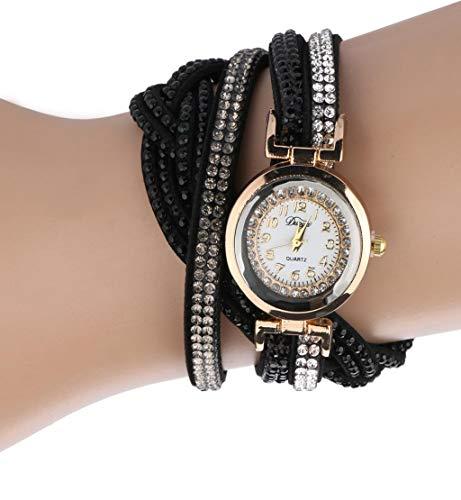 (Clearance Sale!DEESEE(TM) Brand Watches Women Luxury Crystal Women Gold Bracelet Quartz Wristwatch Rhinestone Clock Ladies Dress Gift Watches (Black))