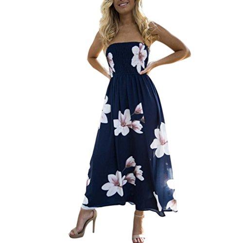 Fheaven Womens Off Shoulder Boho Dress Open Side Beach Summer Sundrss Long Maxi Dress (S, Navy) by Fheaven