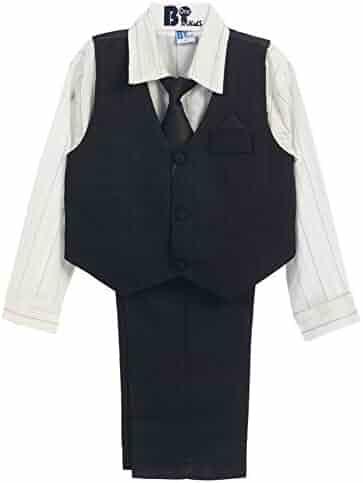 3f78c73b05a9 B-One Four Piece Silver Striped White Shirt Black Boys Vest Set 9M-4T