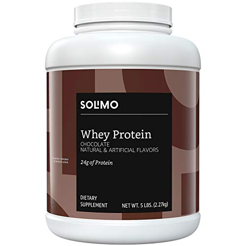 Amazon Brand - Solimo Whey Protein Powder, Chocolate, 5 Pound (57 Servings)