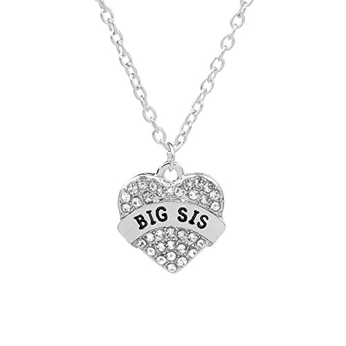 (3 Color Big Sister Gifts Crystal Necklace for Women Girls (White))