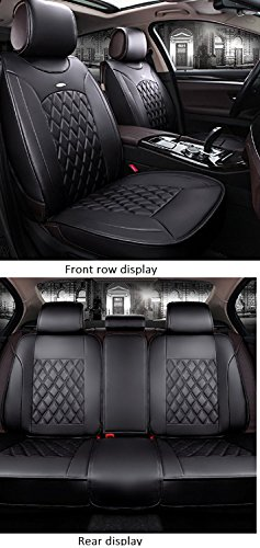 JOJOHON Luxury PU Leather Auto Car Seat Covers 5 Seats Full Set Universal Fit (Black)