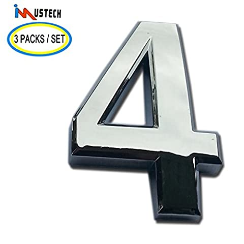 3 Packs House Number iMustech® 2 Inch Silver 3D Self-stick Mailbox Number with Shiny Silver Plating, For Door, House, Mailbox, Street Address Sign, Car Sticker (#4 Silver)