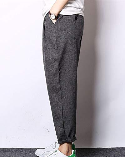 Homme Pantalon Taille Gris Lin Noir Grande Gladiolusa Sarouel Décontracté Baggy Casual Ample EqdKwa