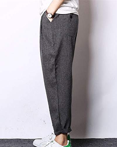 Gladiolusa Ample Casual Noir Homme Pantalon Taille Lin Sarouel Gris Grande Décontracté Baggy IXwrwxAng