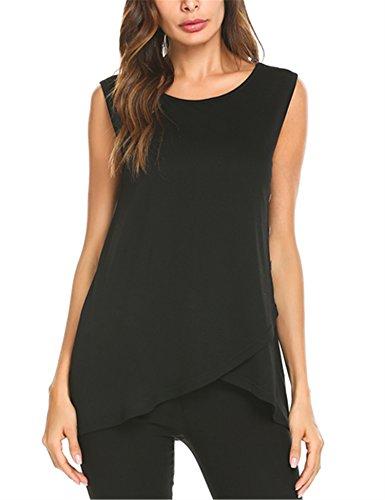 SE MIU Women Faux Wrap Asymmetric Hem Sleeveless T-Shirts Tank Tunic (Sleeveless Knit Shirt)