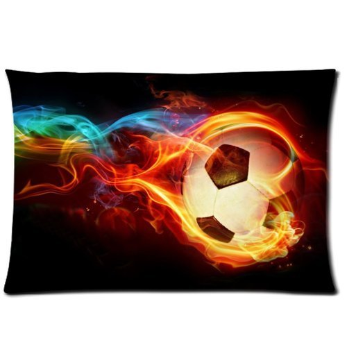Funny Flaming Soccer Pillowcase - Pillowcase with Zipper, Pillow Protector, Best Kids Pillow Cover for Soccer Lovers - Size 20x30 inches WECE 20 X 30 inch