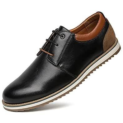 Zapatos Comodos Oxford de Cordones para Hombre - Zapatos Formal Derby Cuero de Imitación Hombre, Conveniente para Todas Las Estaciones