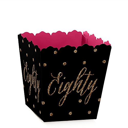 Chic 80th Birthday - Pink, Black and Gold - Party Mini Favor Boxes - Birthday Party Treat Candy Boxes - Set of -