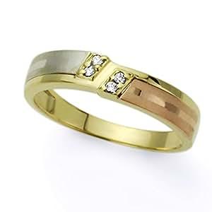 Pequeños Tesoros - Anillo de mujer - de oro amarillo (14k) Boda y de Compromiso Circonita Anillo De Matrimonio