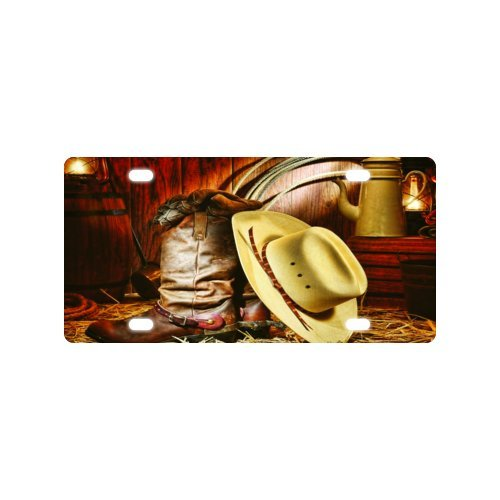 Cowboy boots and hat License Plate Hot Sale with Good Quality Front License Plate Decorative - 6 X 12 inch ()