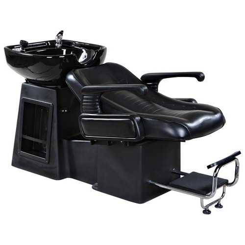 Icarus 'Harlow' Black Reclined Beauty Salon Shampoo Bed Chair & Sink Bowl Backwash Unit