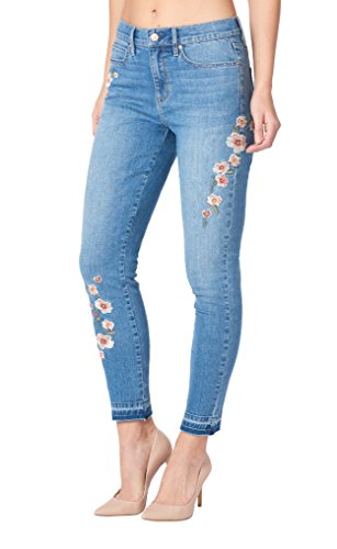 Nicole Miller New York Soho Floral-Embroidered High-Rise Skinny Jeans