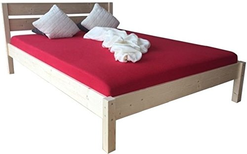 LIEGEWERK Massivholzbett Bett mit hohem Kopfteil Holz 90 100 120 140 160 180 200 x 200cm hergestellt in BRD, Holzbett (140cm x 200cm)