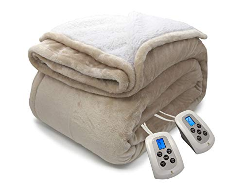 MARQUESS Electric Blanket MicroPlush Sherpa and Reversible Flannel Washable Comfortable with 4 Heat Settings/Safety 10 Hours Auto-Off Dual Controllers (Linen, 8490)