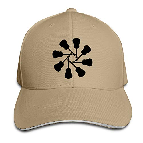 Women's and Men's Baseball Cap Guitar Silhouette Clipart Old Cotton Flat Hat Adjustable Classic Sports & Outdoors Caps