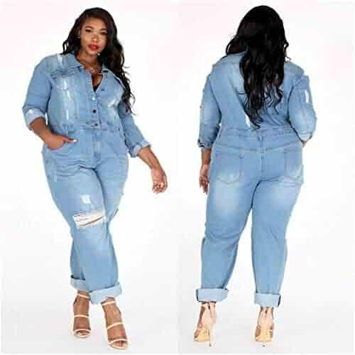 6cd427179 L'Diva Couture Boutique Women's Jean Jumpsuit, Plus Size, Distressed Jeans  Light Blue