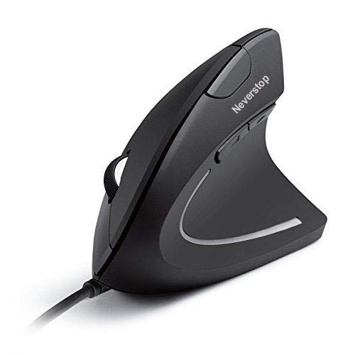 Wired Vertical Mouse, Optical Ergonomic Mouse with 4 Adjustable DPI 800 1200 2000 3200, 6 Buttons USB Computer Mouse with 4 Colors LED Light