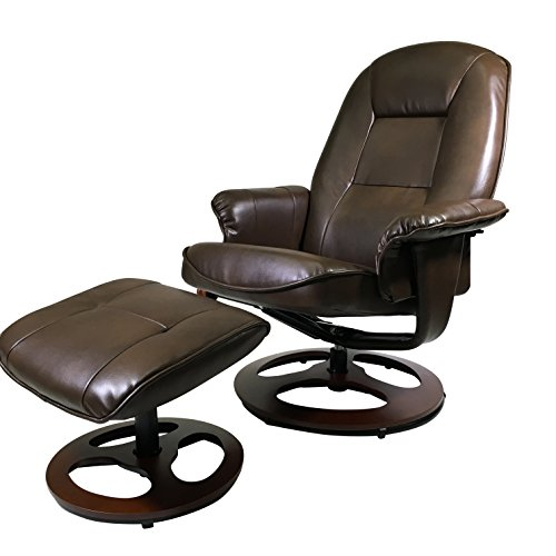 Superbe Montrose Light Chocolate Vegan Leather Swiveling Recliner Chair And Ottoman