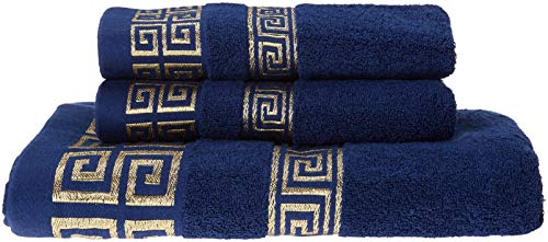 100% Cotton Highly Absorbent Embroidered Towels 3-Piece Towel Set Hotel Bath Towel, 1 Bath Towels, 2 Hand Towels Extra…