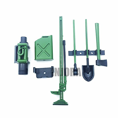 INJORA RC Crawler 1:10 Accessories Green Mini Fuel Tank Winch Jack Tools Kit for Axial SCX10 TAMIYA CC01 RC4WD D90 D110 RC Truck Car Parts