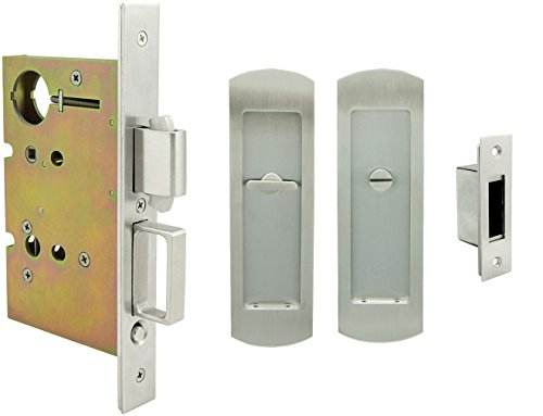 (INOX FH29PD8440-234-32D Mortise Pocket Door Privacy Lock with 2-3/4-Inch Backset, TT08 Thumb Turn and Coin Turn, Satin Stainless Steel)