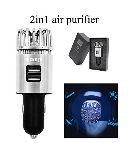 NEW Rockets car air purifier with dual usb charger 5.6 million 'No' ion remove smoke and odor such as ducts and pollen