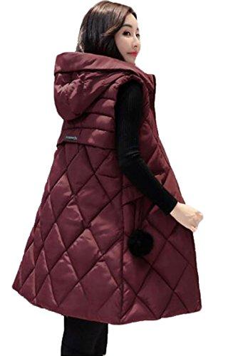 拍手する道路建てるGuDeKe ダウンベスト レディース ロング ダウンジャケット ノースリーブ 厚手 アウター フード付き ロングベスト 防寒ジャケット 細身 軽量 暖かい 中綿 着痩せ おしゃれ 通勤 ファッション