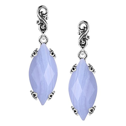 Carolyn Pollack Sterling Silver Blue Lace Agate 1-1/2 Inch Long Marquise Dangle Earrings